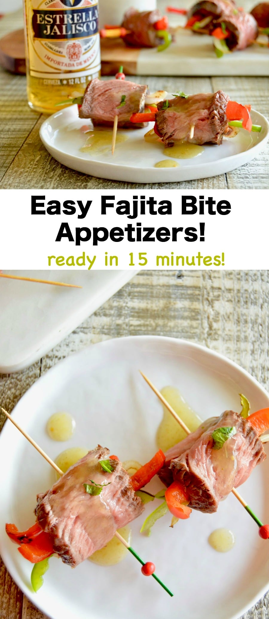 Easy Fajita Bite Appetizers are made with tender grilled steak, with softened peppers and onions all rolled into a bite sized treat.  Served with a simple salsa for maximum burst of flavor ready in less than 30 minutes for easy entertaining.