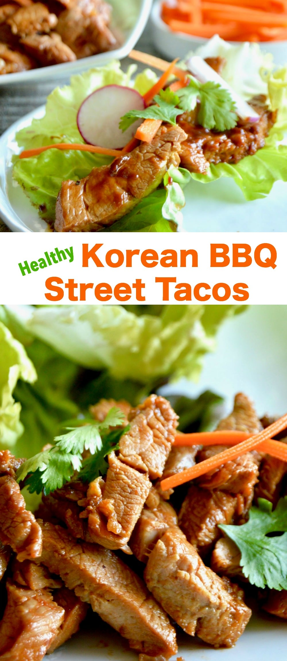 Healthy Korean BBQ Street tacos: a simple homemade seared pork filled taco that's super tender, bursting with flavor and topped with fresh veggies for a healthy taco Tuesday meal!