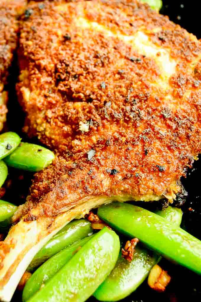 Crispy Breaded Pork chops flavored with parmesan and Panko