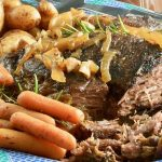 Pull apart tender Balsamic Beef Roast is made in the crock pot for the easiest way to make and serve full flavored meal for company without spending hours in the kitchen.