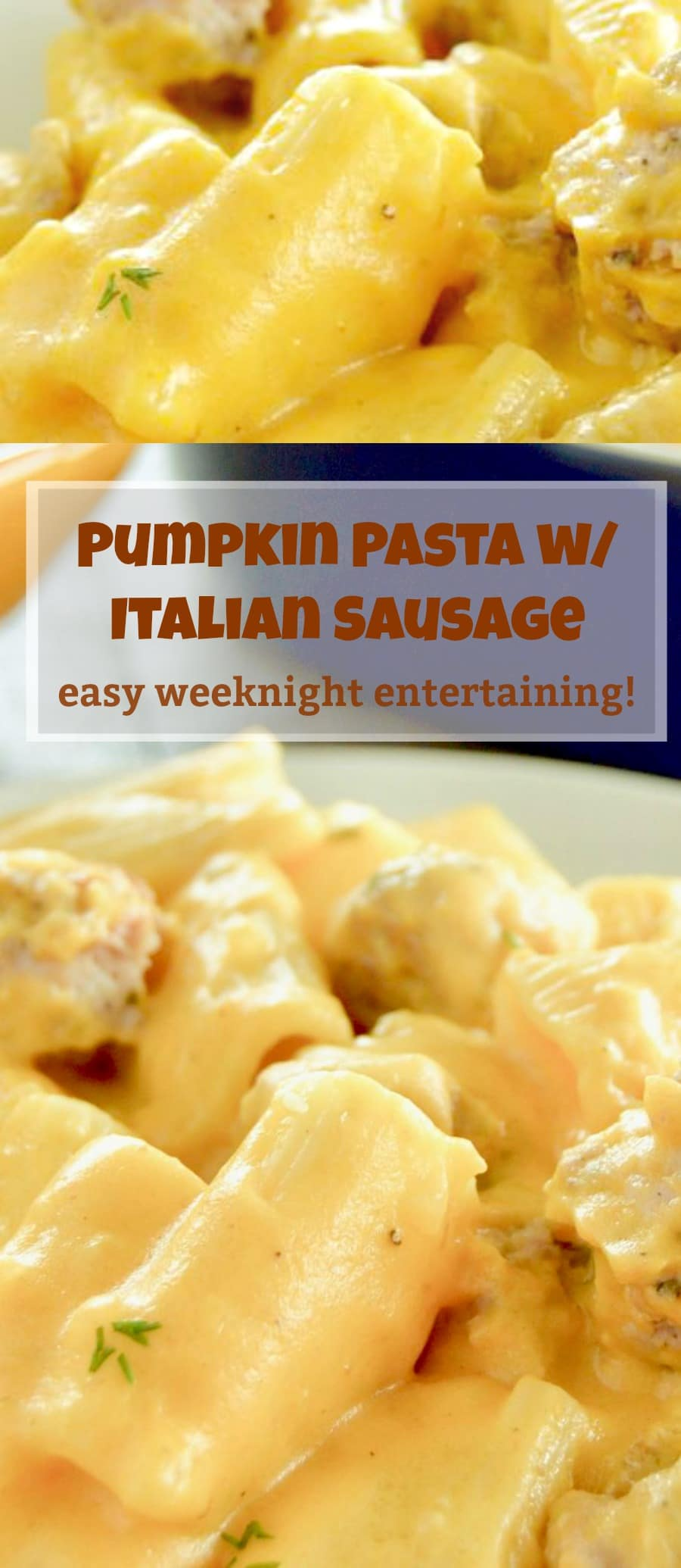 Pumpkin Pasta with Italian Sausage is velvety, cheesy, with hints of earthy pumpkin to lighten the sauce from your regular Mac n Cheese.  A simple dinner choice for entertaining on a work night.