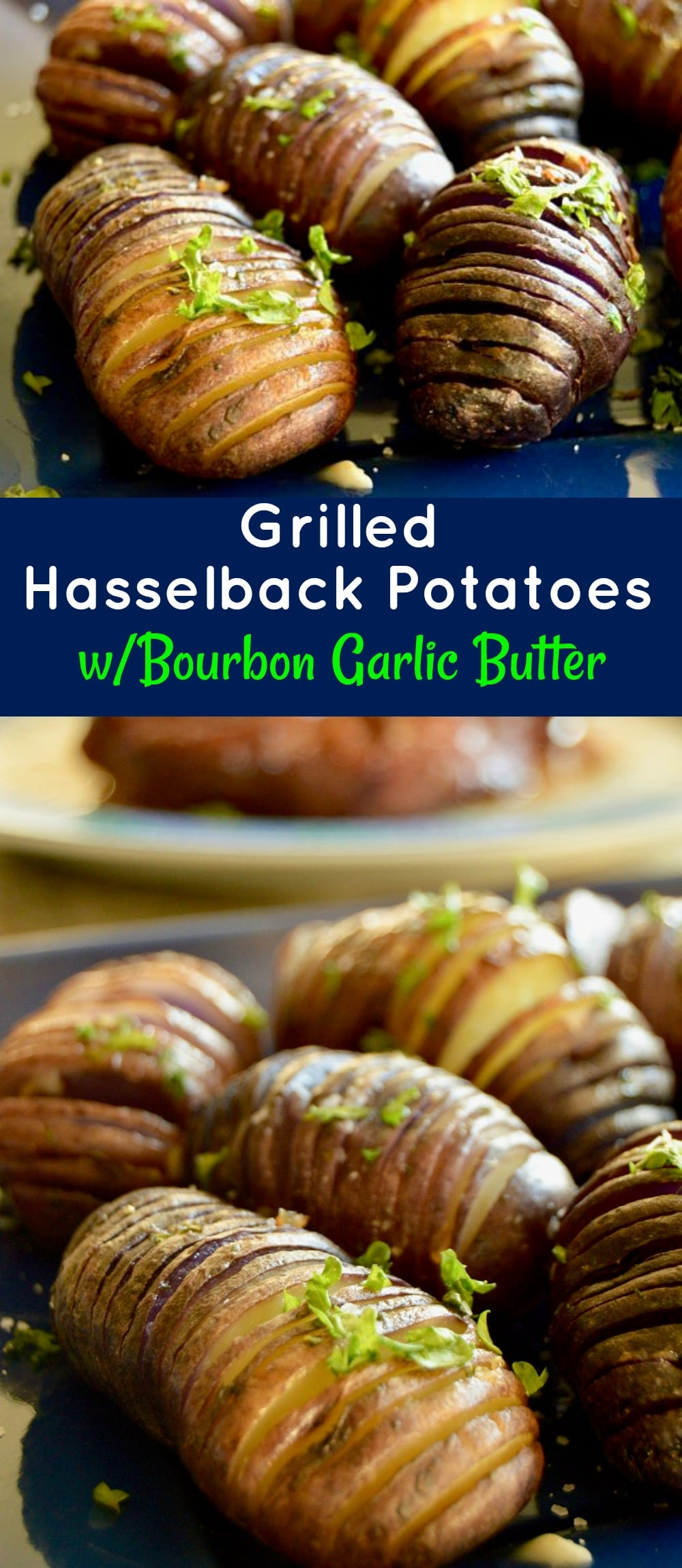 Grilled Hasselback potatoes are ideal for a BBQ side dish. Easy to prep ahead, crunchy on the edges, lightweight centers drenched with bourbon garlic butter for lots of flavor!