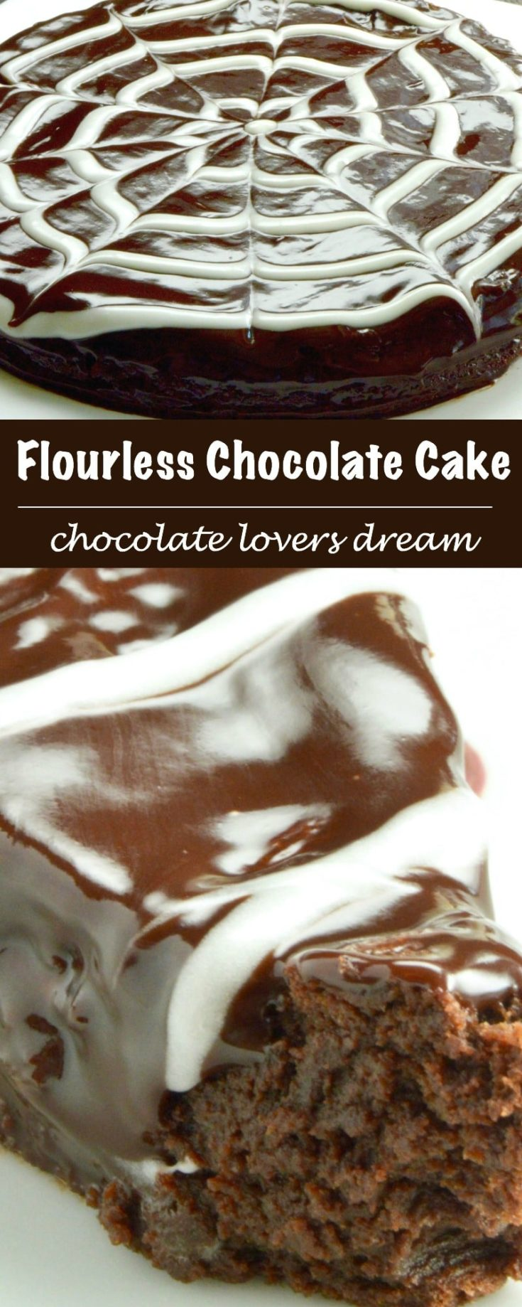 """Flourless chocolate cake is ideal for special occasions. Its fudge, gooey, chocolate lovers heaven in every bite. You can """"fancy"""" it up with simple tricks to decorate the top too!"""