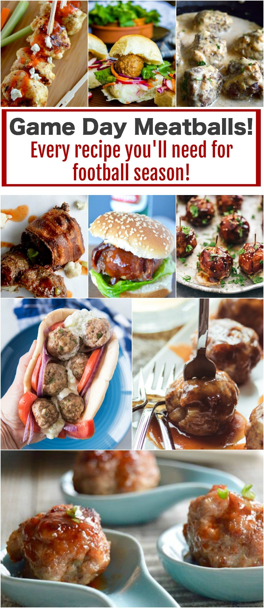 Game Day Food: Meatballs Roundup!  Game day Party food that everyone will rave about!  A round-up up of every meatball recipe you will need to keep everyone fed and happy while watching the game!