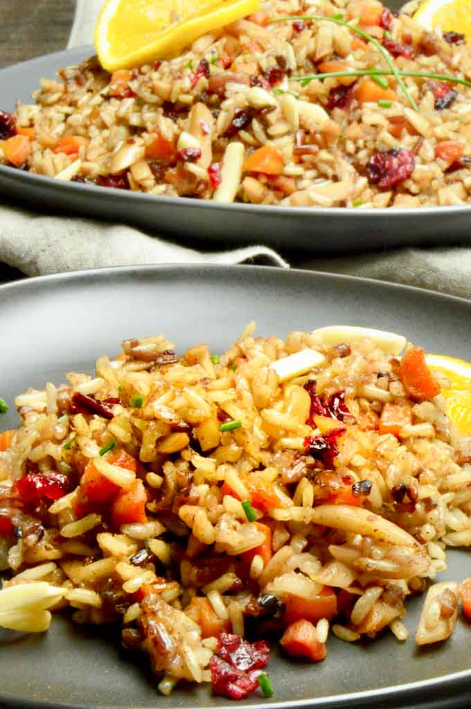 Serving table with Moroccan Rice pilaf