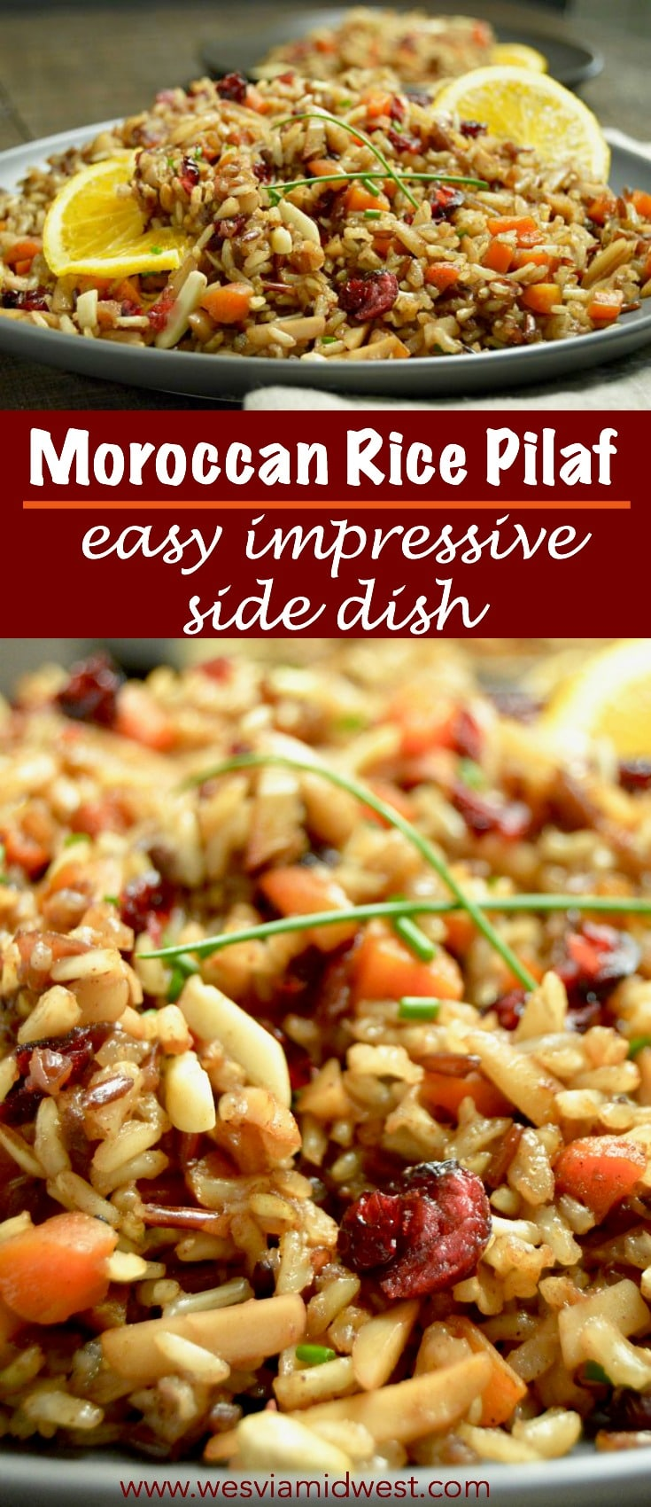 Moroccan Rice Pilaf: Fragrant,  Fluffy and Delicious: Super easy to make and impressive enough your guests will love it as a side dish for any holiday party! GF, DF, V
