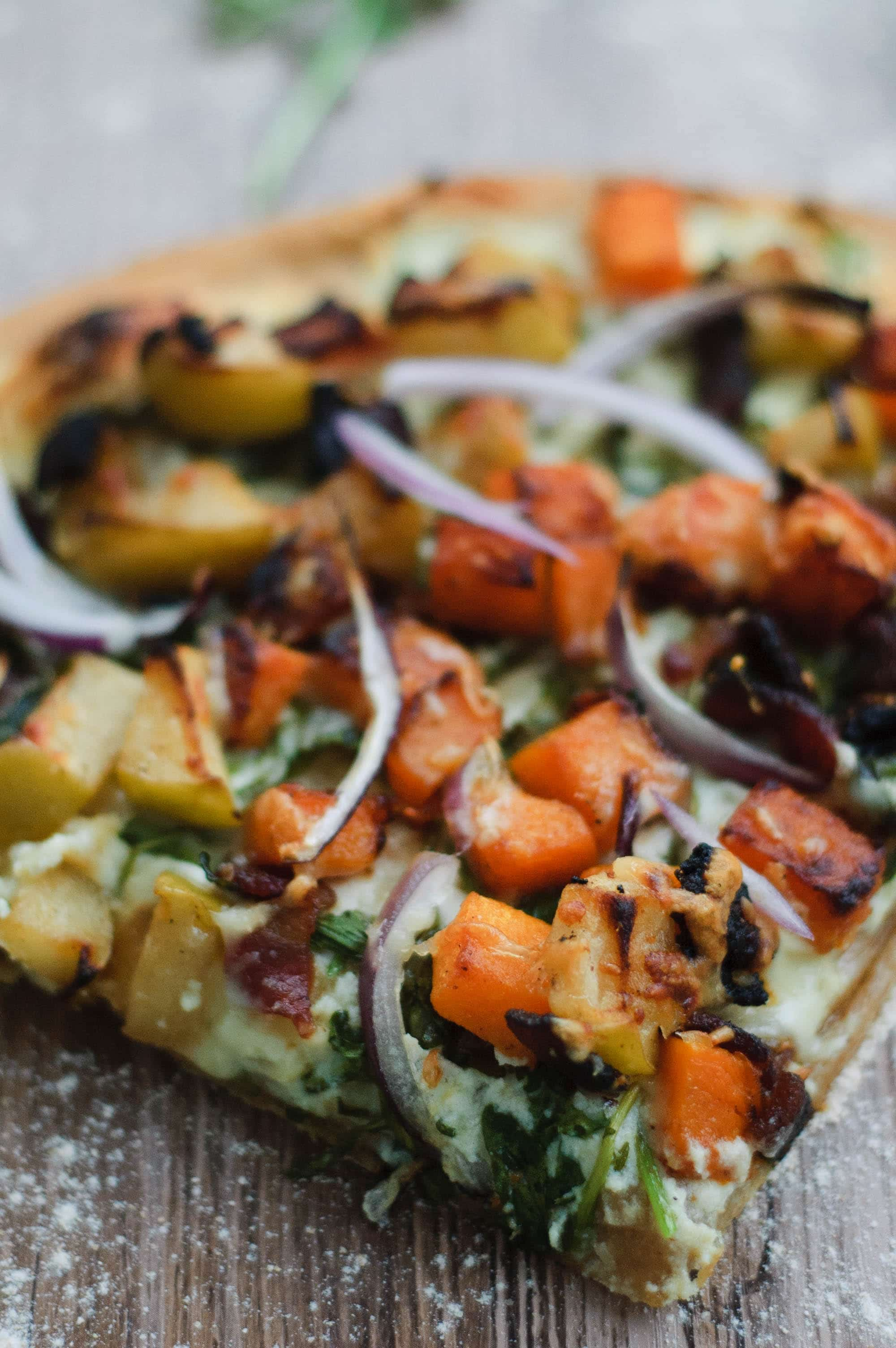 pumpkin, apple and bacon pizza!