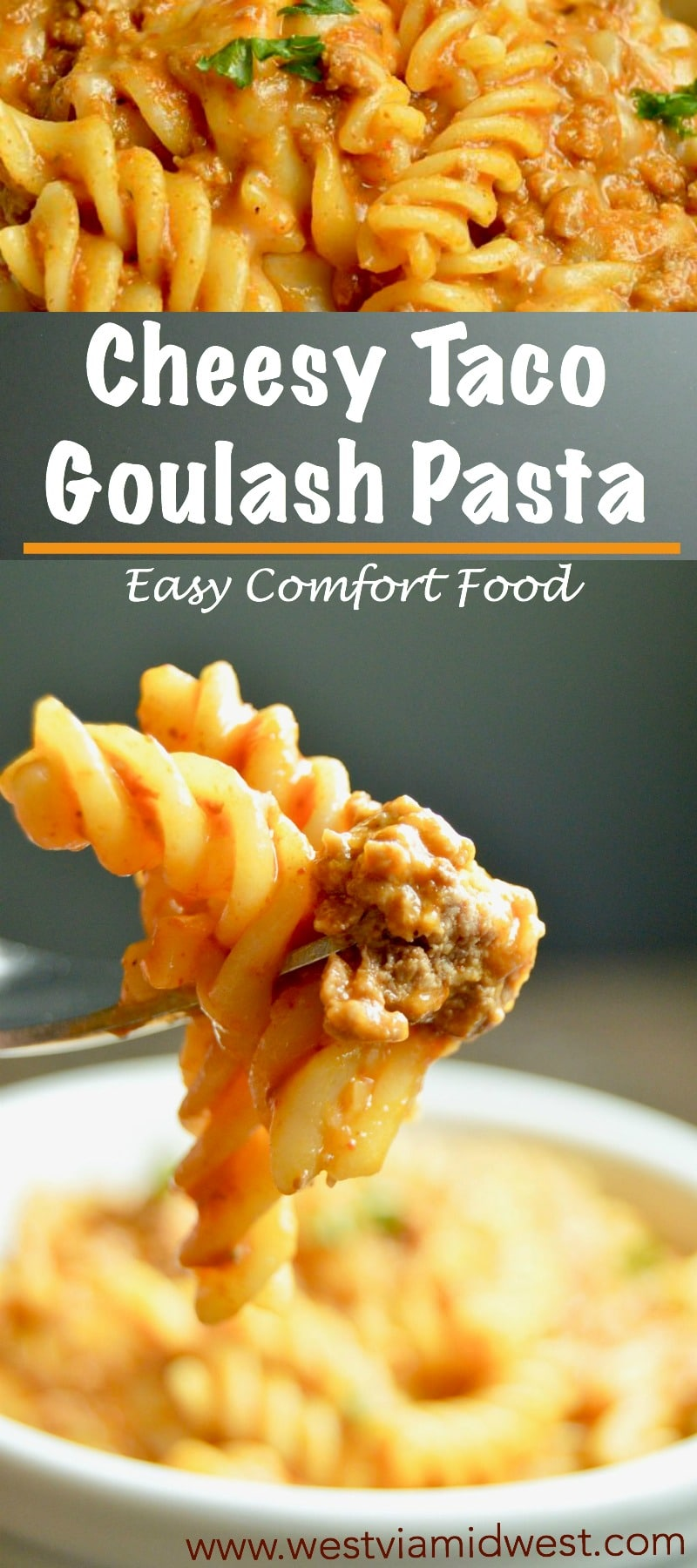 Cheesy Taco Goulash Pasta is a twist on a family staple. Cheesy, Spicy, warm comfort food with pantry staples that you can make last minute for spur of the moment entertaining!