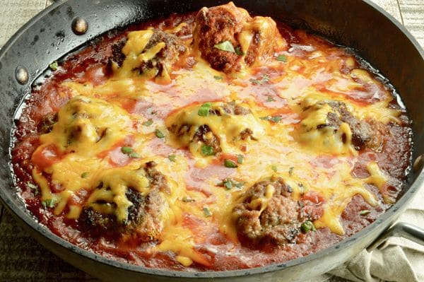 Top of cheesy Meatball Skillet dip in the pan!
