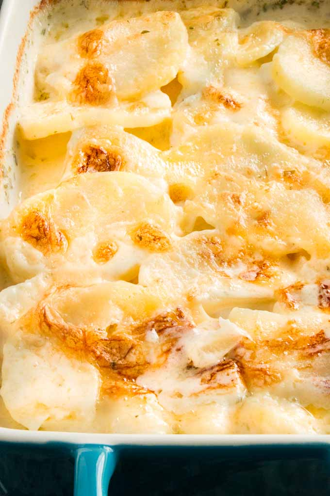 Best Scalloped Potato Recipe in a serving dish