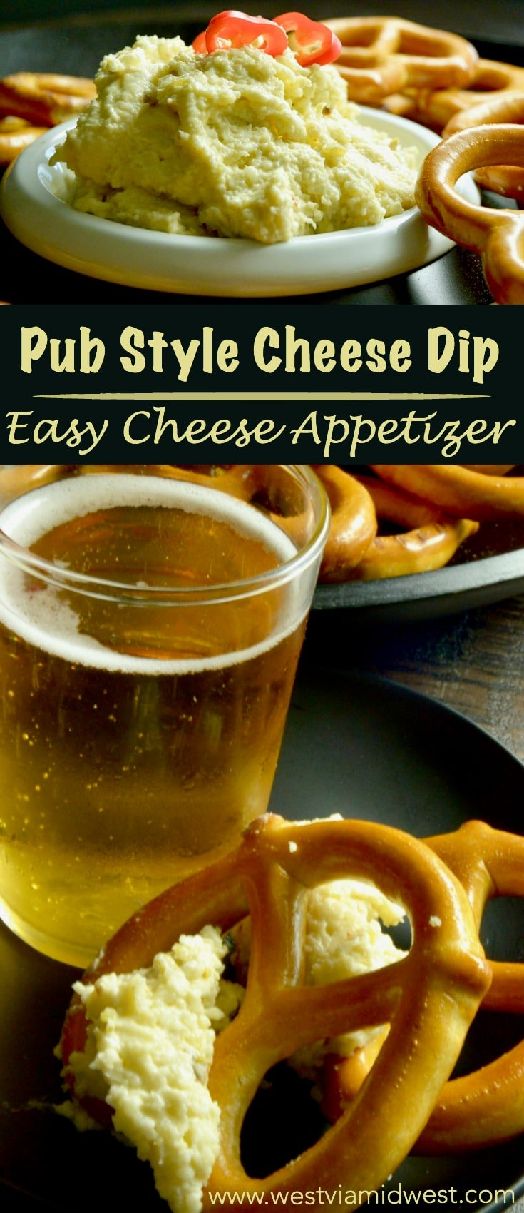 Hatch Chili Pub Style Cheese Dip is an easy appetizer that is great for parties, football game days or just as a snack.  Spreadable cheeses with a slight kick, great for entertaining!