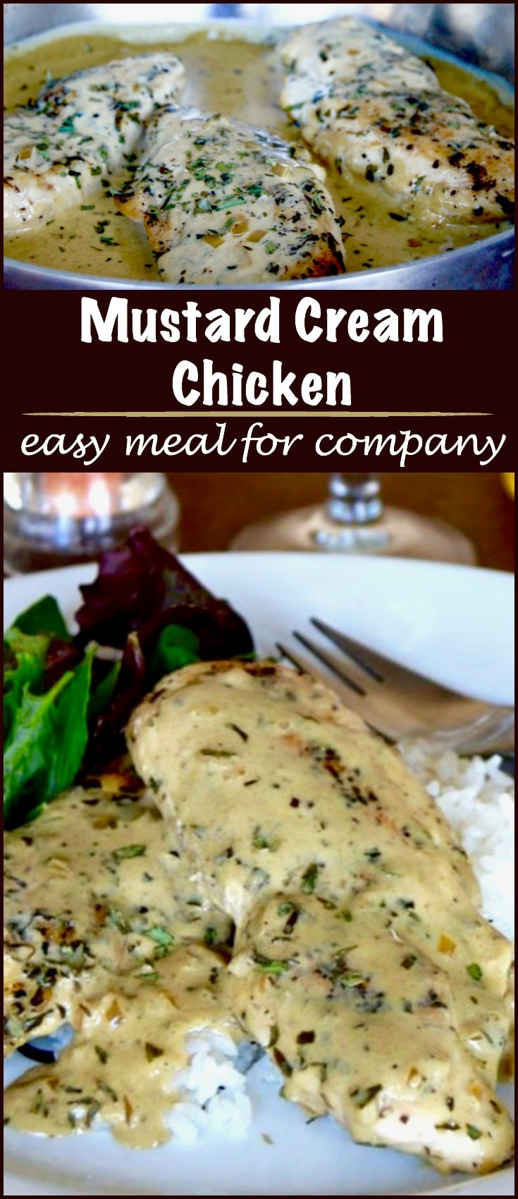 Mustard Cream Chicken Sauté: easy, quick & delicious. Creamy Light mustard sauce over tender juicy chicken makes a delicious comfort food meal for entertaining!
