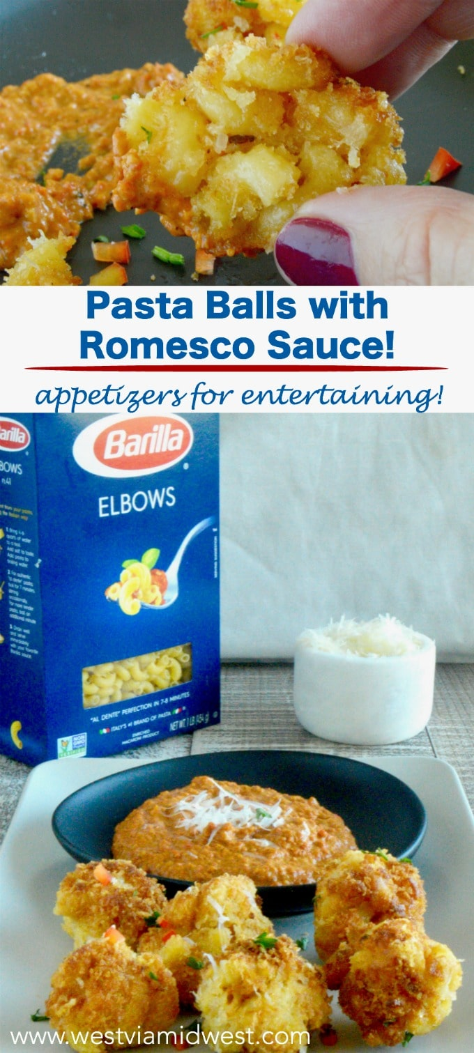 #Ad Partnered with Barilla Pasta --Perfectly cooked Al Dente Pasta Balls in a smoky authentic Romesco sauce then fried into little bite sized balls for a flavorful appetizer for those times you need something a little different and special. #appetizers #pastaballs