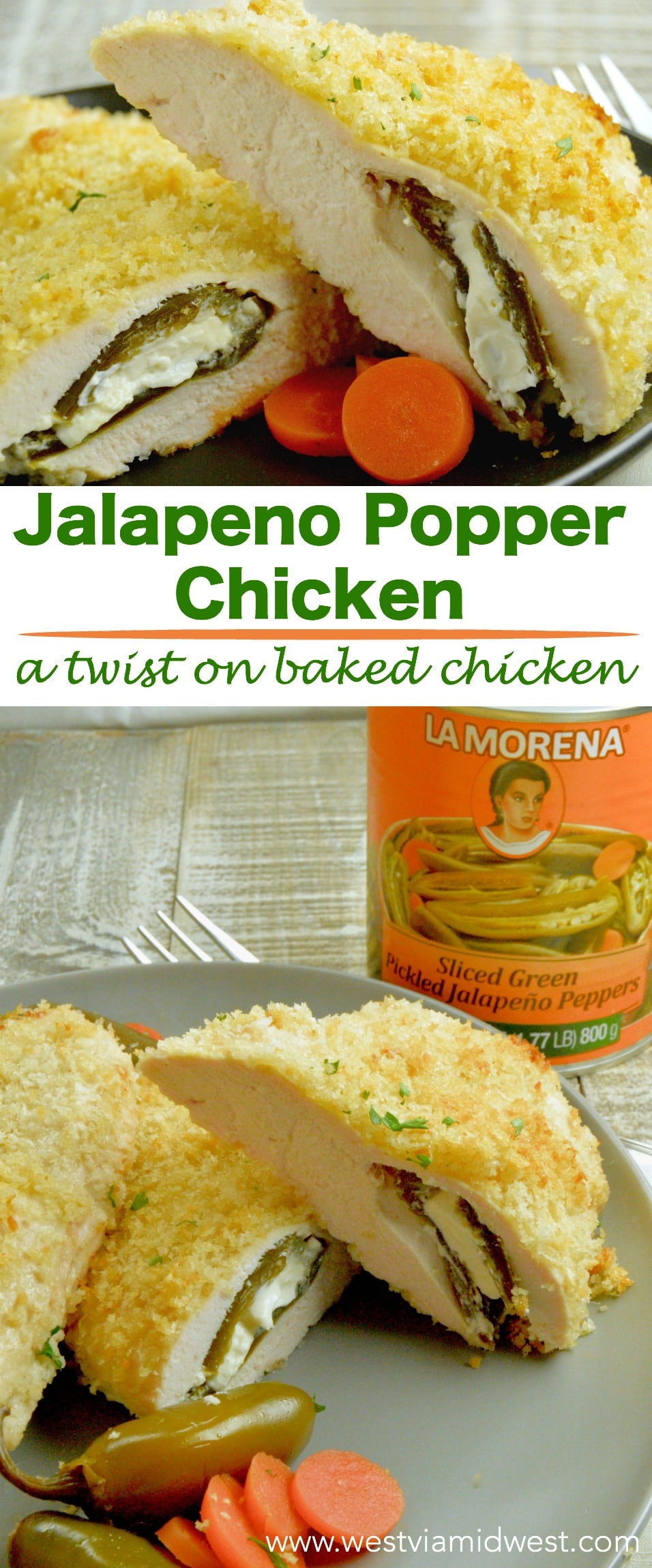 Partnered with LA MORENA® Jalapeno Popper Chicken is a twist on crispy baked chicken. Stuffed with cream cheese poppers with slight heat give every day meals a new take! #VivaLaMorena #RediscoverLaMorena
