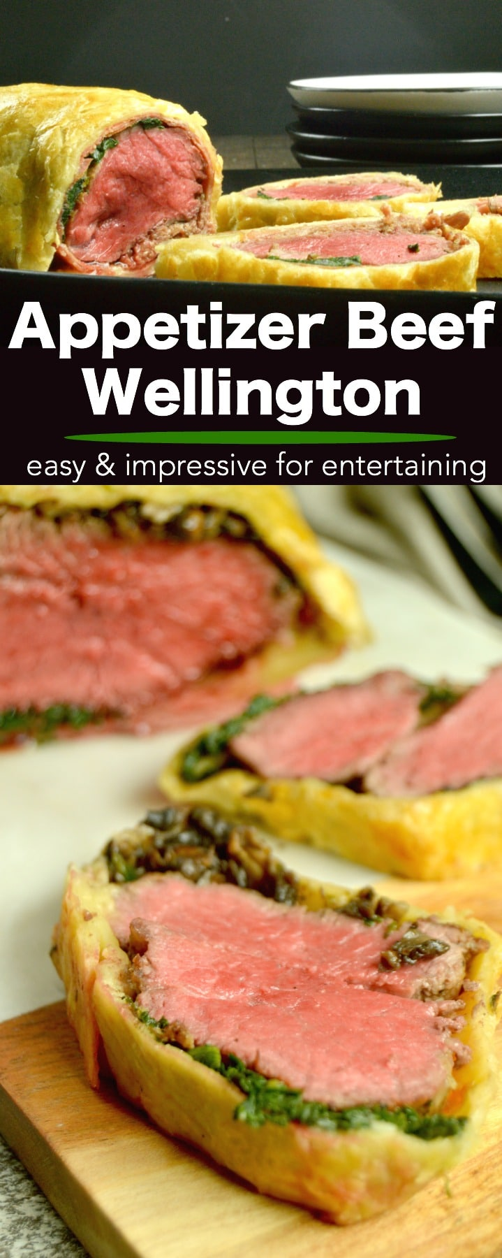 Beef Wellington Appetizers:  Tender steak smothered in mushroom pate wrapped in prosciutto then surrounded byPuff Pastry that is baked to light and flaky deliciousness. Perfect for all special occasion entertaining this holiday season, but easy enough to have just because they are delicious! #appetizers #holidayfood #entertaining #comfortfood #AD #InspiredByPuff