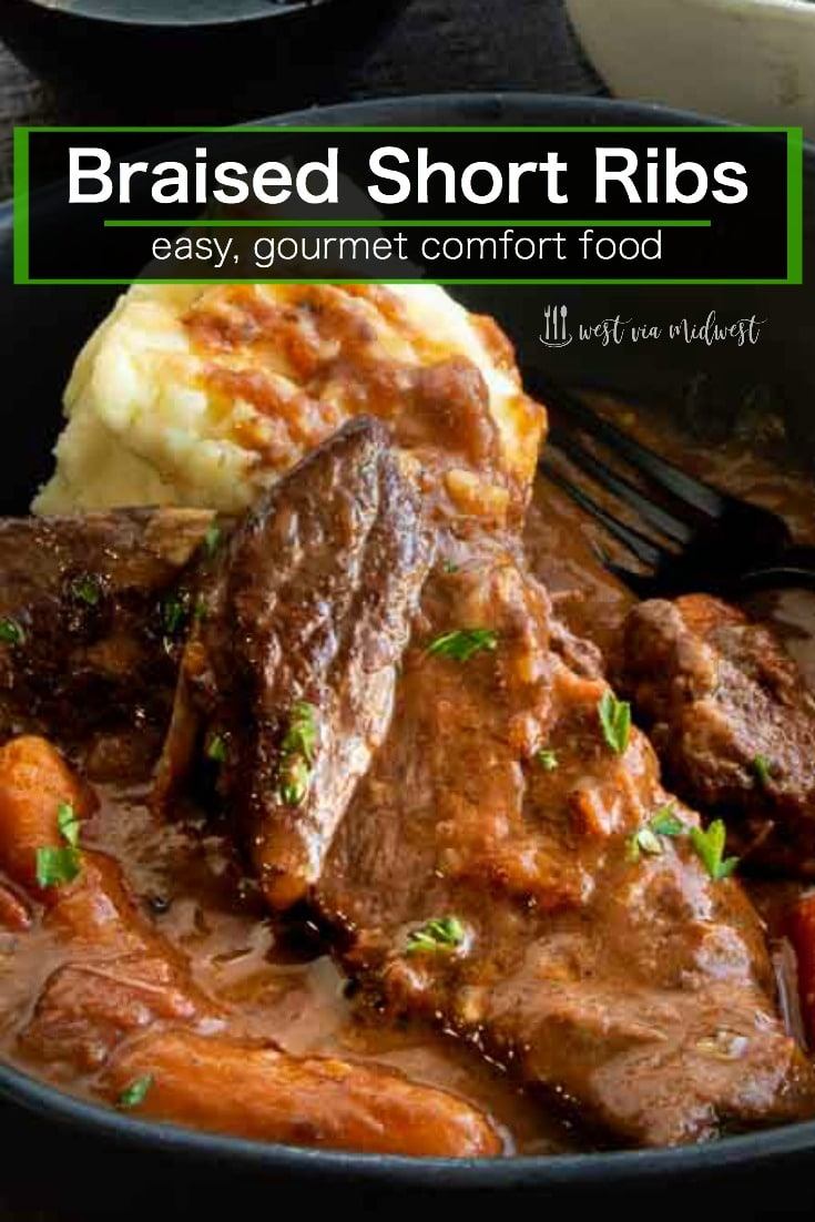 Braised Boneless Short Ribs in a serving plate with velvety sauce on top