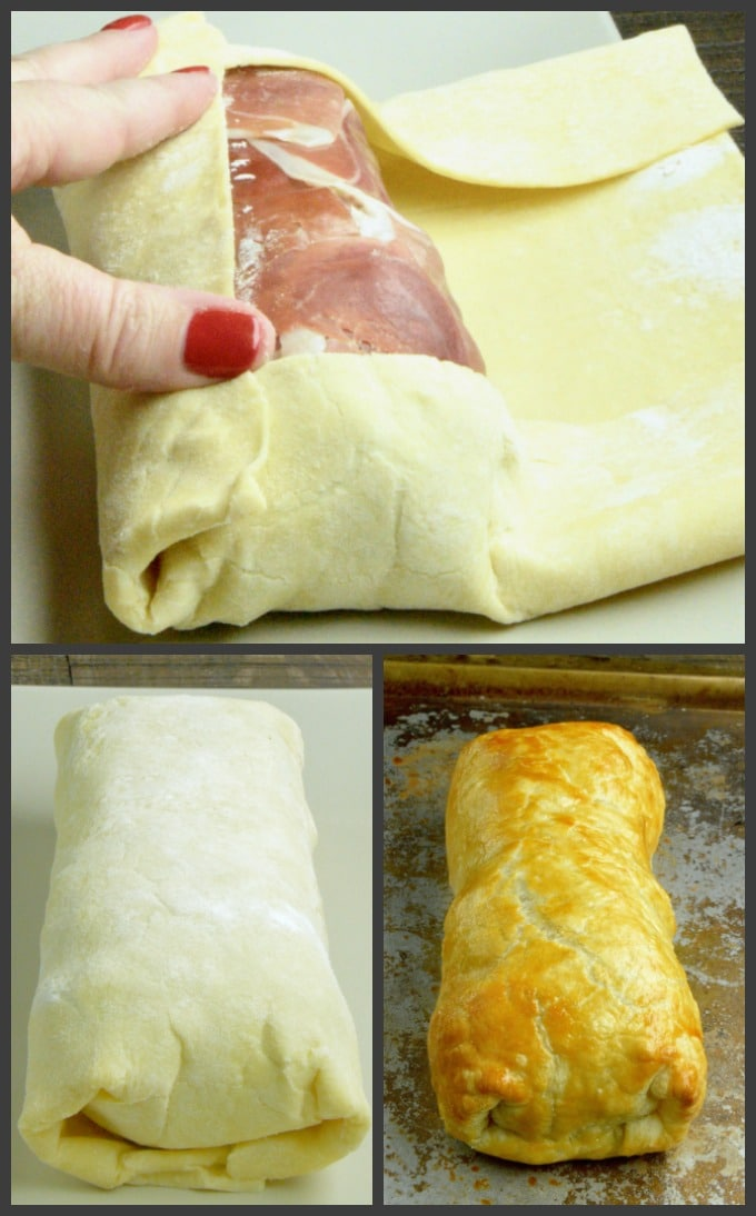 Step by step for wrapping the beef log in puff pastry to make the beef Wellington appetizer.
