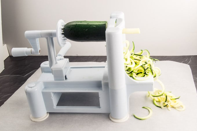 Tabletop Spiralizer making Zucchini Spaghetti Pasta