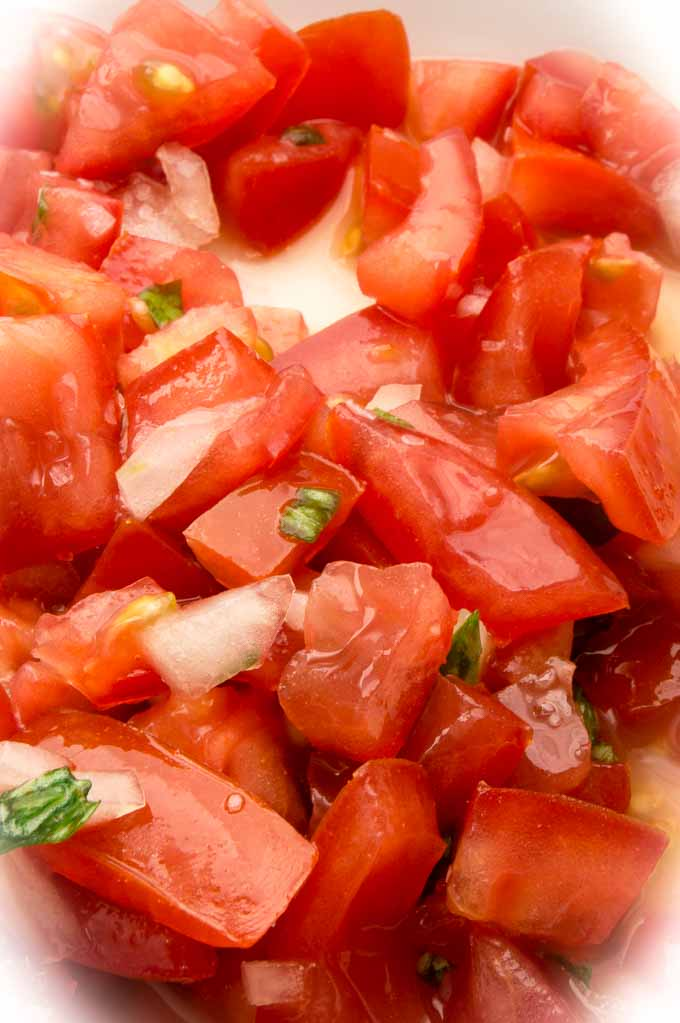 Diced Fresh tomatoes for Bruschetta Topping for Zucchini Pasta Spaghetti
