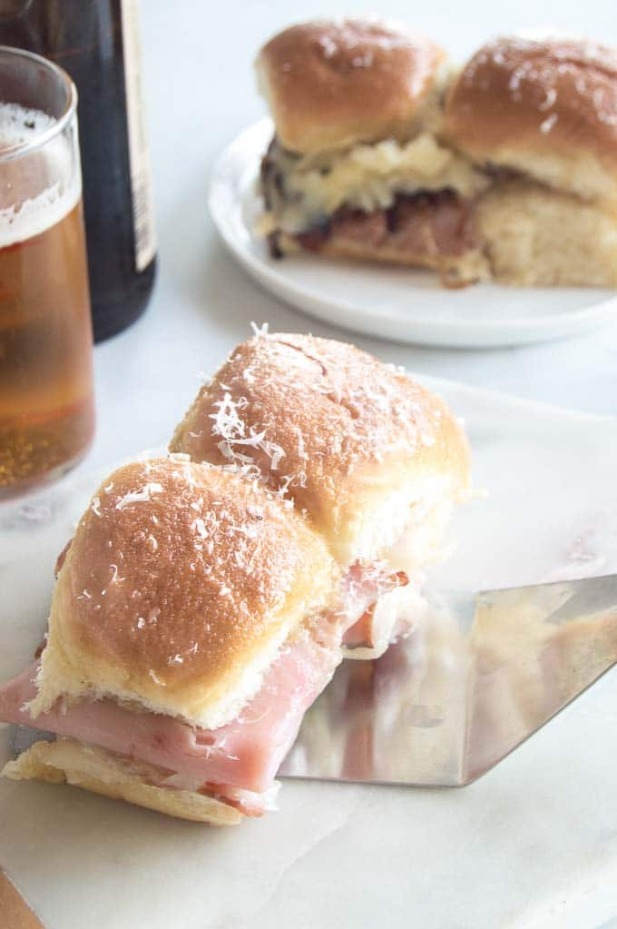 Party sandwiches are perfect for game day entertaining Pictured here are ham and cheese in the foreground
