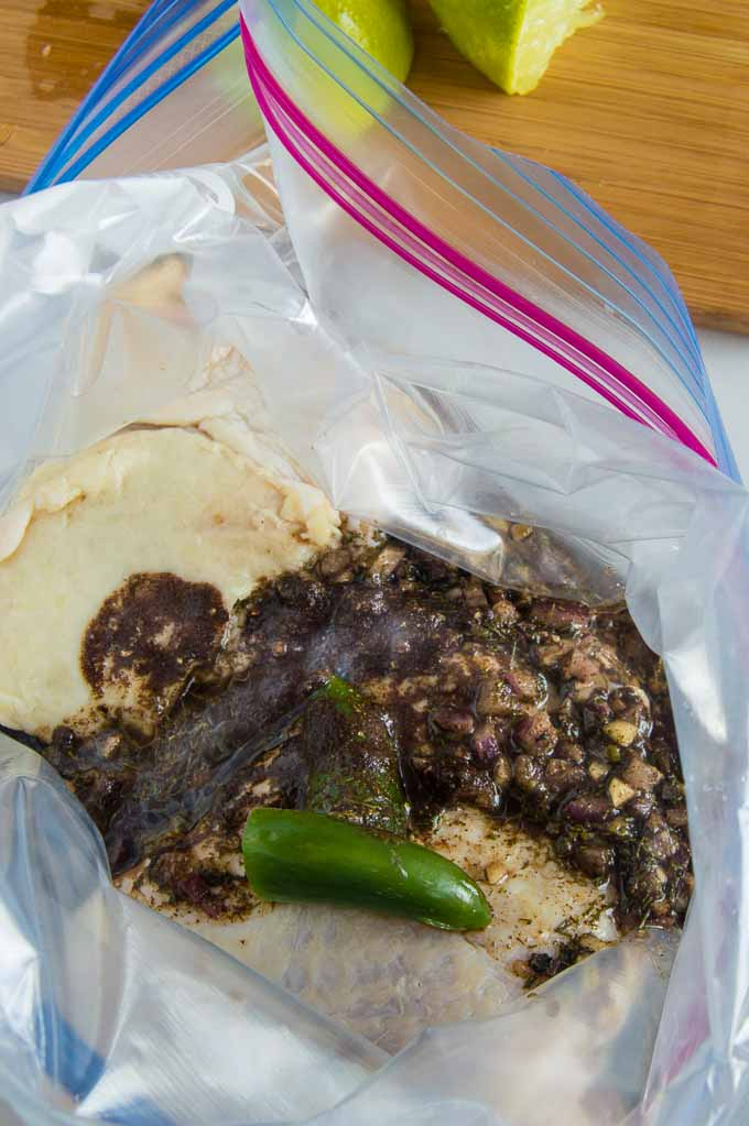 Easy ziplock bag marinating for delicious grilled chicken.