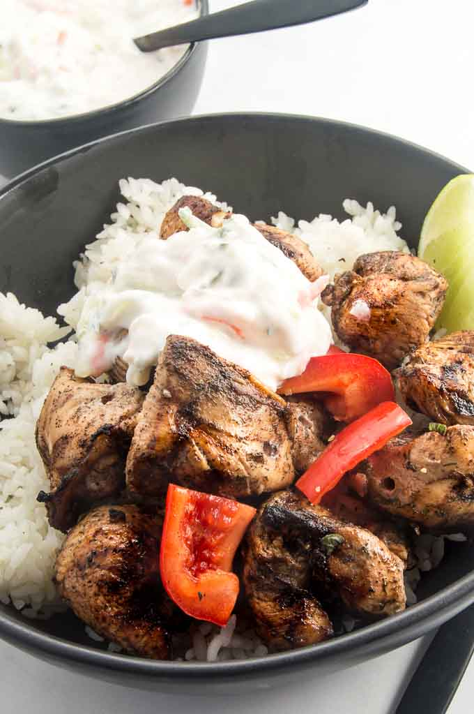 Moroccan Chicken atop rice with veggies