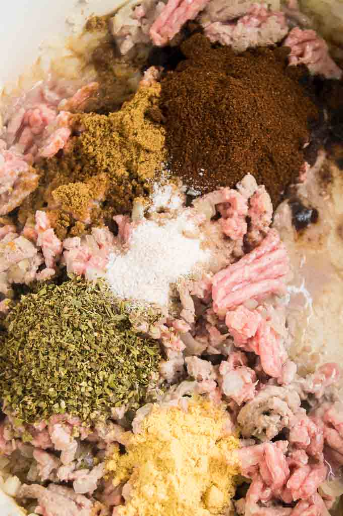 Close up of spices for healthy chili recipe