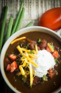 Close up of Ground turkey chili for super bowl party food