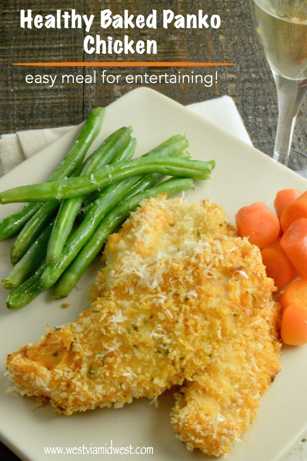 Crispy Lighter Panko Crusted Chicken is a healthier option for serving for company n a hurry