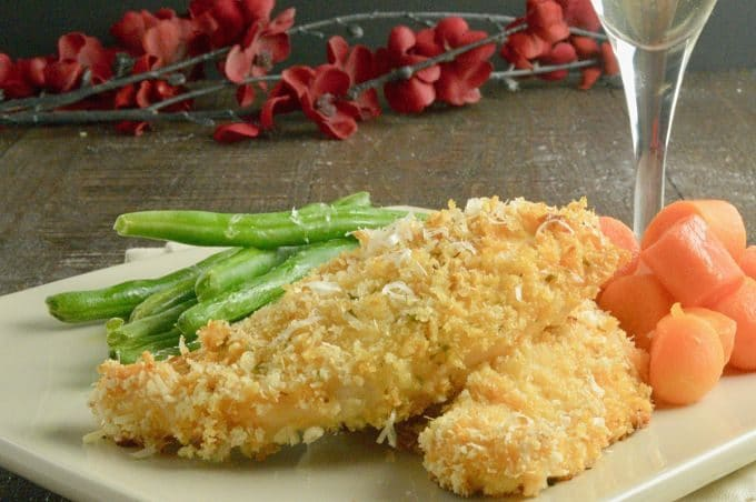 Crispy Lighter Panko Crusted Chicken is a healthier option to fried chicken. for entertaining