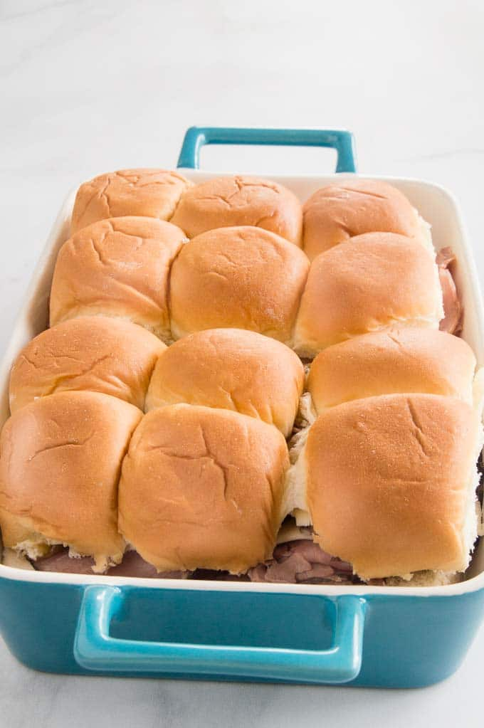 roast beef sliders in the completely assembled for baking