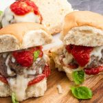 Bite sized sliders made Italian style withmozzerella and marinara
