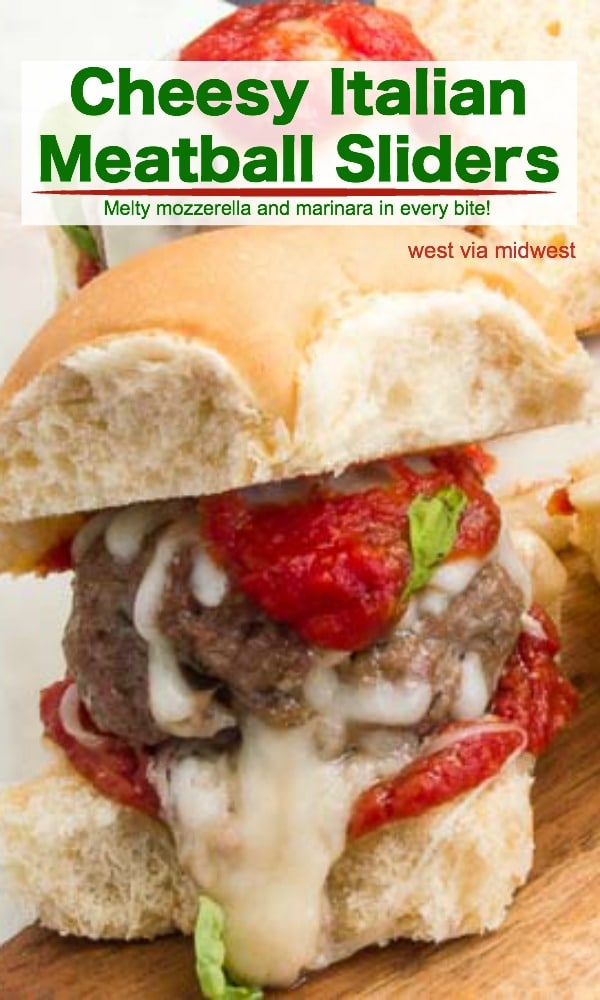 These Italian Meatball sliders are an easy meal for bite sized deliciousness. Serve them for game day watching or for a easy to make but filling meal for company!