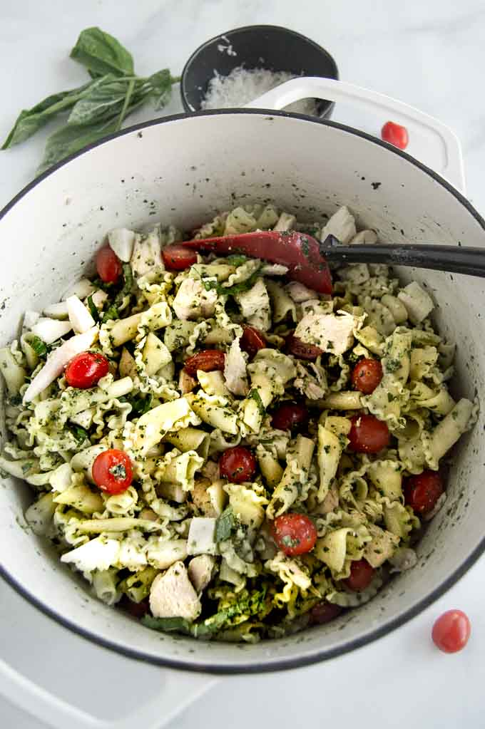 Chicken Pesto Pasta salad in a stock pot
