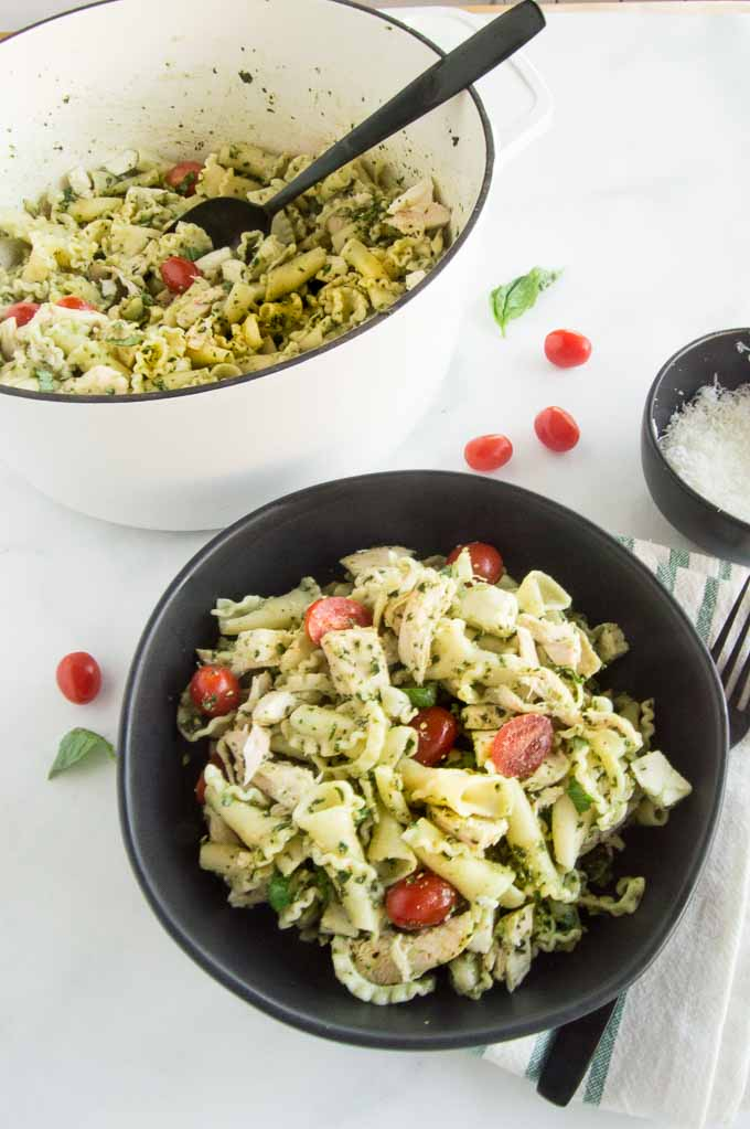 Serving of a pasta Salad with pesto and chicken