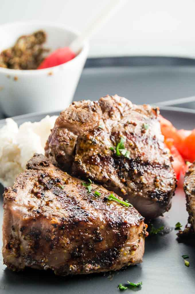 Greek Style Lamb Chops on a plate