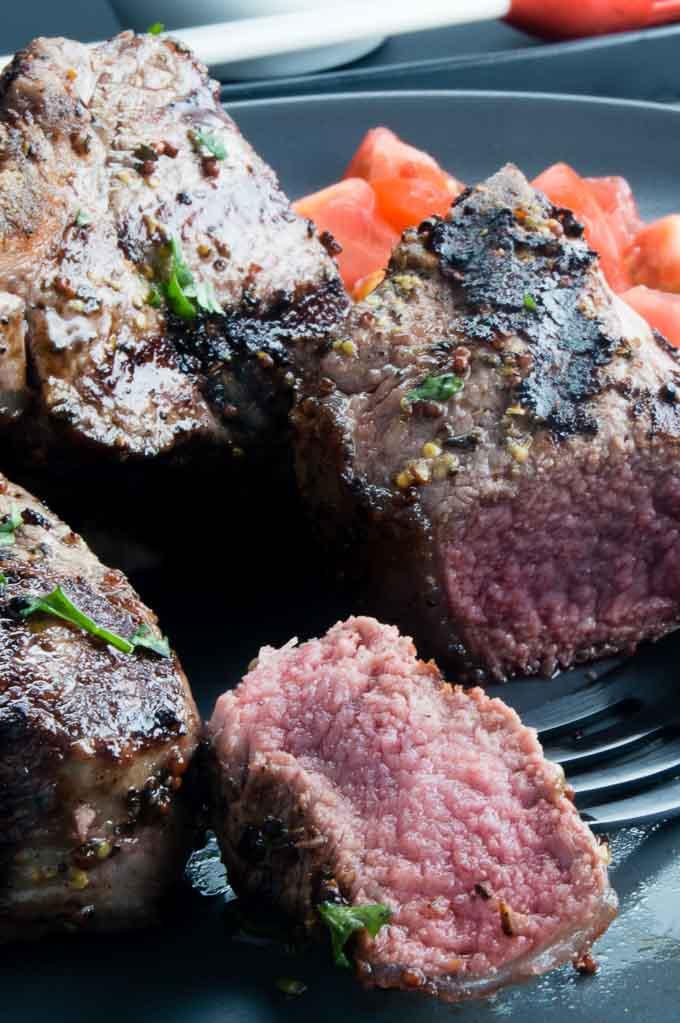 Juicy, rare Greek marinated Lamb Chops