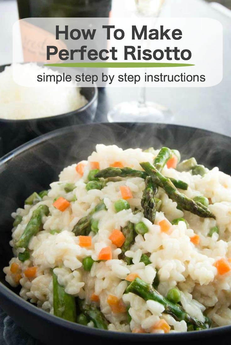 Creamy, al dente cooked risotto with tender, fresh asparagus, peas and carrots make this Asparagus risotto a family favorite.