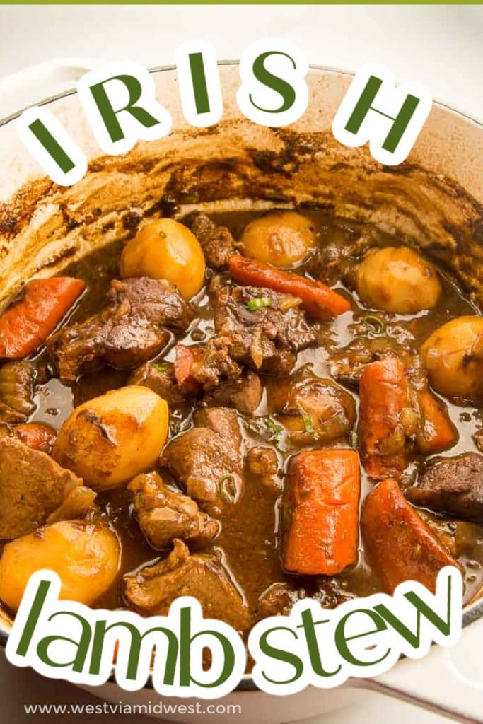 dutch oven full of guiness stew for st Patricks day