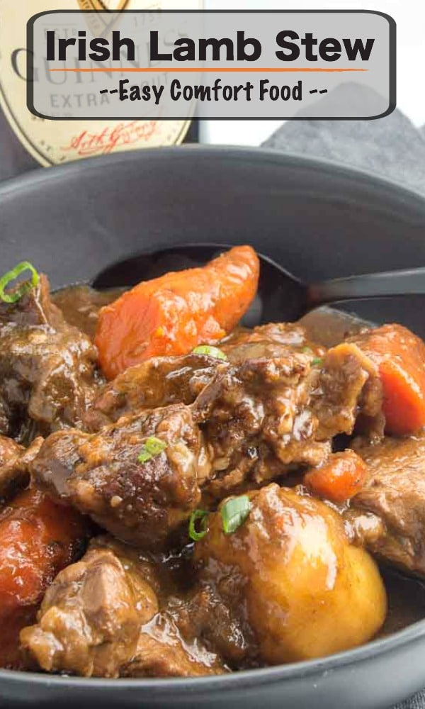 This Irish Lamb Stew recipe is made by slow cooking the lamb in a deep rich velvety broth. Mixed with rustic cuts of carrots and whole potatoes that make this one pot meal a complete comfort food!! #stpaddysdayfood #irishstew #comfortfood #braisedstew