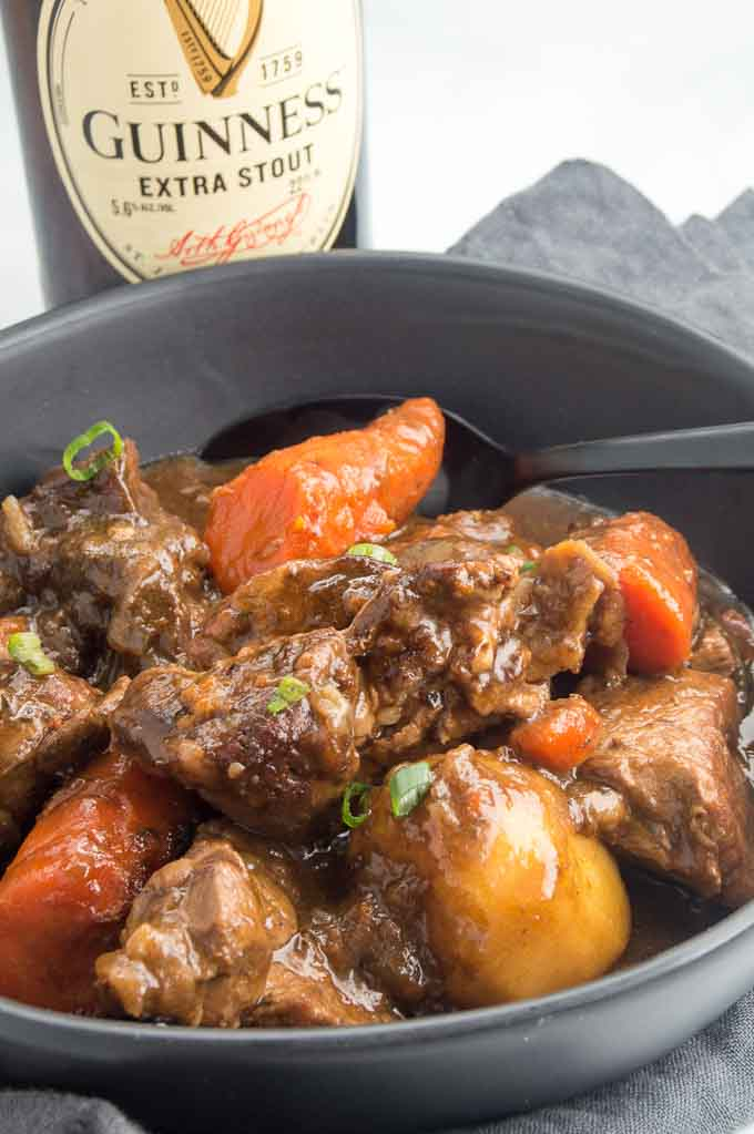 Guinness Irish Stew served in a bowl
