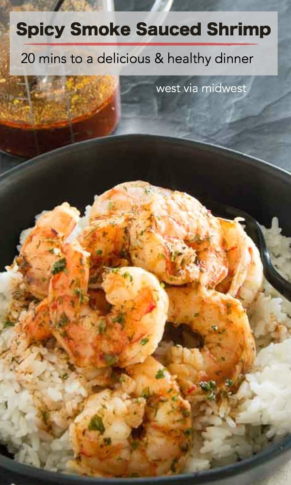 Spicy Smoke Sauced Shrimp is full of sweet paprika and smoky heat. A sauce you can make in 5 minutes, then toss with shrimp and have a warm comfort food dinner on the table in 20 minutes!