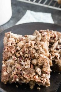 Final Baking Product, crunchy crumb topping on a square of coffee cake