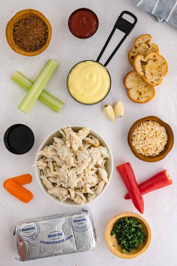 Ingredients to make cream cheese crab dip