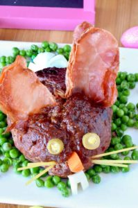 meatloaf shaped as a bunny for Easter on a platter