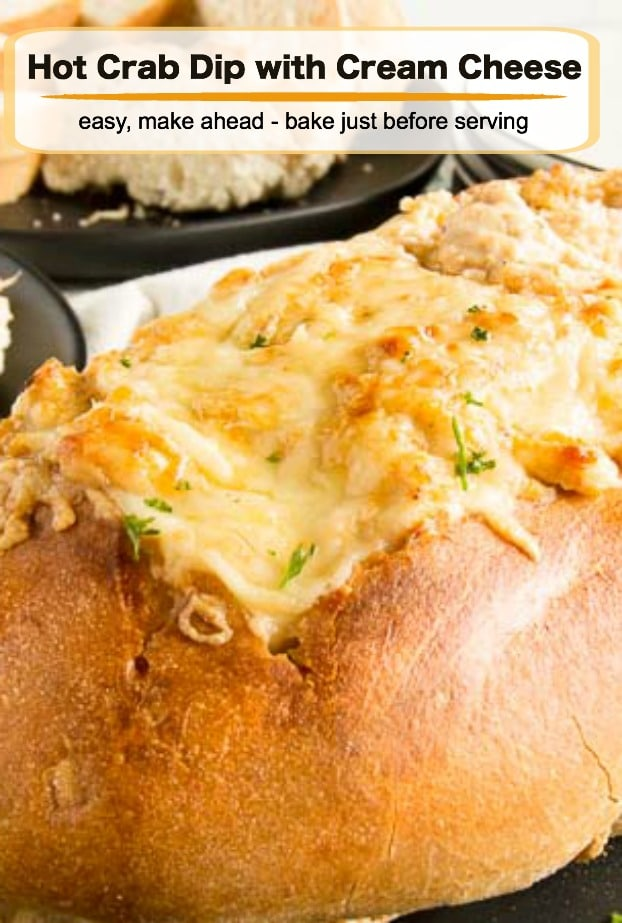 This Hot Crab Dip with Cream Cheese comes together in 10 minutes then you bake to bubbly, melty deliciousness. Full Flavor of the crab, cheese and spices comes thru in every delicious bite!