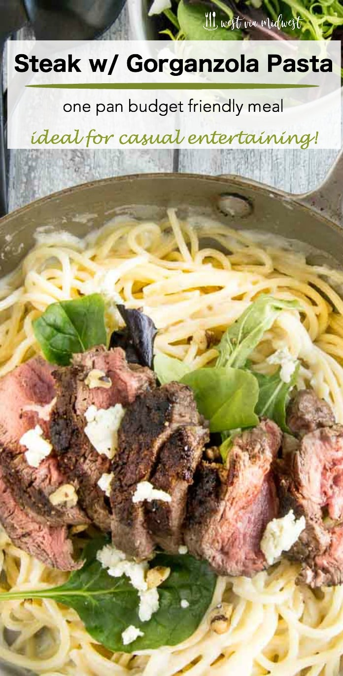 Steak with Gorgonzola Pasta is a budget friendly, yet special enough for company recipe. Made in less than 30 minutes served directly served from the same pan you cook it in!  #ad #onepanmeal #steak #pasta @GoGroceryOutlet