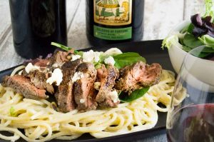 Creamy Gorgonzola Pasta served as the centerpiece with wines for entertaining.