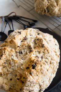 Irish Soda Bread up close showing crunchy golden crust color