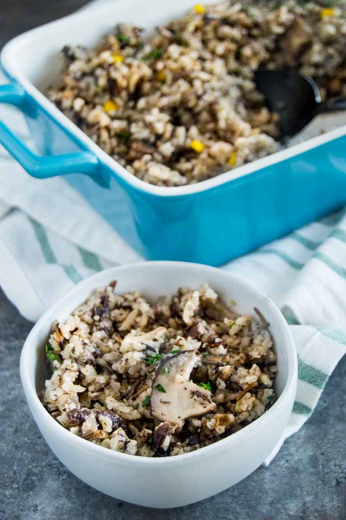Fluffy, fragrant with crunchy edges make this Mushroom Rice Pilaf recipe a great weeknight side dish or fancy enough for a dinner party side dish.